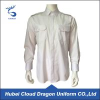 Cheap Cotton Twill White Long Sleeve Security Guard Shirts Traditional Style Printed Logo wholesale