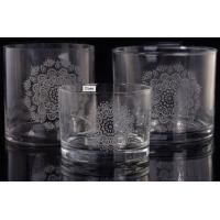 Buy cheap Laser Engraved Etching Logo Decorative Glass Candle Holders , Glass Cylinder from wholesalers