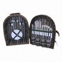 Buy cheap Willow Picnic Basket for 4, Suitable for Camping and Family Use, Holds 4 Sets of Tableware product