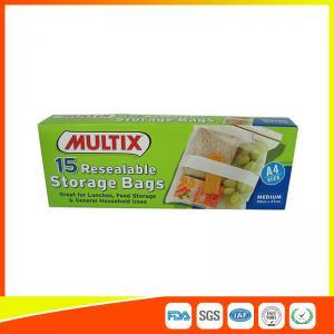 Supermarket Plastic Food Storage Bags / Zip Up Storage Bags Resealable Food Safe