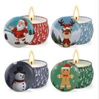 Buy cheap Scented Soy Wax Cute Pattern Christmas Tin Candles Jar With Metal Lid Lightweight product