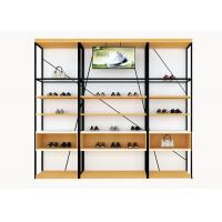 Metal And Wooden Wall Shoe Display Racks , Shoe Display Fixtures Easy Install