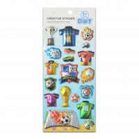 Buy cheap Football Game 3D Color Blister Stickers Sports For Boys Play Silver PVC Material 2cm High product