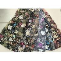 Buy cheap Multi Color Embroidered 3D Flower Lace Fabric / Fabric , Bead Lace Tulle For Dress product