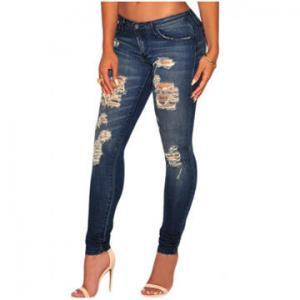 China Dark sandblast wash denim destroyed skinny Jeans, Made of 85%Cotton +10%Polyester+5%Elastane on sale