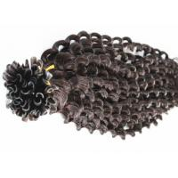 Buy cheap Resilient Pre Bonded Curly Human Hair Extensions Can Be Straightened 8 - 40 Inch product