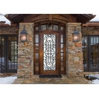 China Scroll Work Filled Wrought Iron Glass Door , Single Iron Doors Maintenance Free on sale