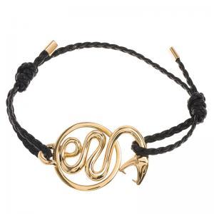 Buy cheap Yellow Gold Snake Charm Bracelet , Custom 16 Cm 18K Gold Braided Leather Bracelet product