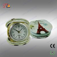 Buy cheap New portable and folding 3D flower printing PU Paris travel alarm clock for promotion product