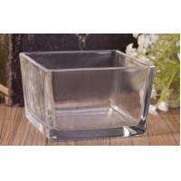 Buy cheap Clear Glass Candle Holder , Short Square Glass Candle Holders Scented Soy Candle from wholesalers