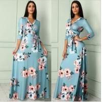 Buy cheap Amazon wish floral dress women plus size winter 2019 spring V-neck Christmas from wholesalers