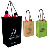 Buy cheap Two Bottle Wine Tote Non Woven Wine Bottle Bags Offset Printing For Shopping product