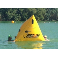 Buy cheap Triathlon Race 1.2m Yellow Triangle Inflatable Marker Buoy With Logo product