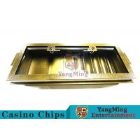 Buy cheap Golden Color Square Casino Chip Tray 5 Row With Transparent Glass Cover from wholesalers
