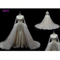 Buy cheap Long Sleeves lace application detached train mermaid wedding dresses product
