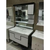 Buy cheap black and white High Grade PVC Bathroom Cabinet , Mirrored Bathroom Vanity With Sink product