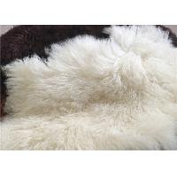 Buy cheap Long Hair Natural curly sheep wool Mongolian white fur Materiral for bed throw from wholesalers