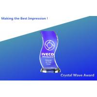 China blue wave crystal awards/blank crystal awards/acrylic blue wave trophies/3d crystal blocks on sale
