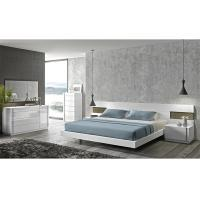 Quality Turkish Cream Gloss Bedroom Furniture Sets , E1 MDF Long Headboard Bed for sale