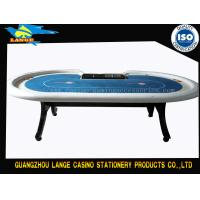 China 102'' White H Wood Leg Casino Texas Holdem Poker Table With Dealer Position Tray on sale