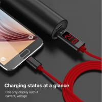 China 2.4A Type C mobile phone nylon data cable,1.2M Voltage and current intelligent display data cable for Apple, Android , on sale