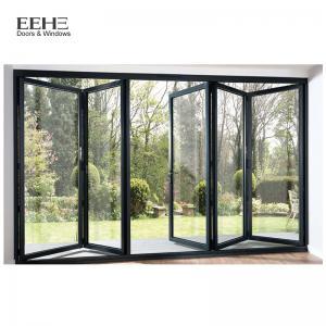 Triple Glass Black Aluminium Bi Folding Doors / Aluminium Fold Up Doors 5mm