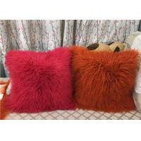 Buy cheap Long Mongolian sheepskin Pillow Two Toned Tibetan lamb fur cushion pillow cover product
