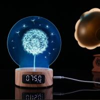 Buy cheap 2018 Newest Product 5 in 1 3D engraving  night light  bluetoooth speaker with time display and alarm clock function from wholesalers