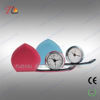 Quality Mini folding heart shape leather travel clock alarming clock suitable for young ladies for sale