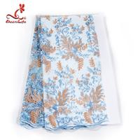 Buy cheap French Luxury Embroidered Lace Fabric / Dress Voile Tulle Lace Fabric Flowers from wholesalers
