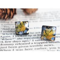 China Van Gogh's Guess Handcrafted Black Square Dry Flower 925 Silver Stud Earrings For Sale on sale