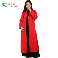 100% Cotton Long Chinese Coat , Soft Women Custom Embroidered Winter Jackets