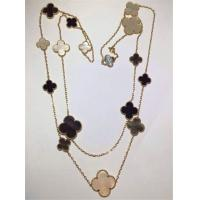 Buy cheap 16 Motifs 18k Van Cleef And Arpels Magic Alhambra Long Necklace White Gray Mother Of Pearl Onyx product