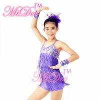 Buy cheap Biketard Confetti Sequin Fringe Dress Kids Purple Latin Dance Costumes product