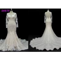 Buy cheap long sleeves customize made lace application bridal gown wedding dresses product