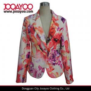 China Ladies Floral Print Blazer Designs Long Sleeves Office Wear Coat on sale
