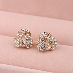 China Women's Fashion Jewelry Golden Imitation Diamond Flower Stud Earrings Hot Sale on sale