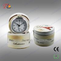 China Charming Flower printing leather PU travel clock with leather jewel box on sale