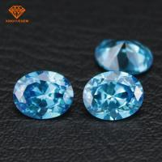 Buy cheap Bulk wholesale oval shape aqua blue diamond color cubic zirconia gemstones for jewelry making product