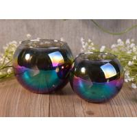 Buy cheap Ball Shaped Decor Glass Tealight Holders , Iridescence Lantern Glass Candle Jar product
