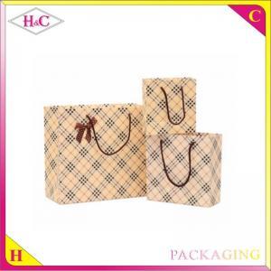 Luxury rhombus hand length handle paperboard gift bag