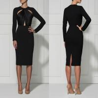 Quality Black / Red Casual Cut Out Bandage Dress Long Sleeve For Women for sale