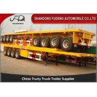 China 4 Axle Flatbed Semi Trailer ,  40 / 20ft Container Carrying Semi Flatbed Trailers on sale