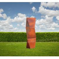 Buy cheap Twist Rhombus Sculpture Huge Corten Steel Product As Residence / Lawn Ornaments product