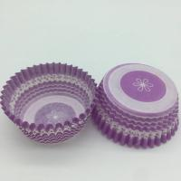 Purple Round Shape Muffin Paper Cups , Striped Cupcake Liners FDA SGS Standard