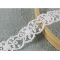 China White Cotton Nylon Lace Trim Wave Edging Floral Embroidery Lace For Bridal Dress on sale