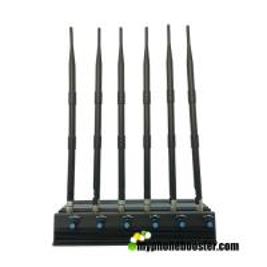 Quality Adjustable 6 Antennas 15w 3G/4G Cellphone Jammer Blocker Jam GPS Lojack 3G 4G for sale