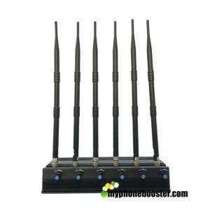 Quality Adjustable 6 Antennas 15w 3G/4G Cellphone Jammer Blocker Jam GPS Lojack 3G 4G Wifi Signals Long Time Working Fans Inside for sale