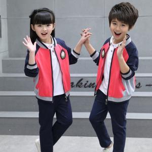 China Kids Kindergarten Primary School Uniforms Long Sleeve Stand Collar Sportswear on sale