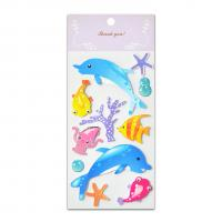 Sea Fish Glitter Epoxy And Paper Stickers Handmade 3D Two Layers High Quality